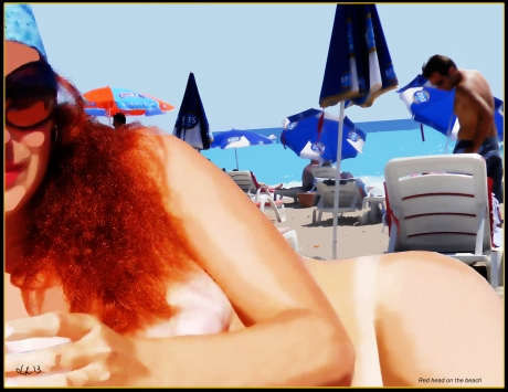 red head on the beach